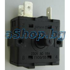 Въртящ ключ 3+0 за степените на конвектор 250VAC/16A,3-изв.x6.35mm,Taurus Clima Turbo 2000