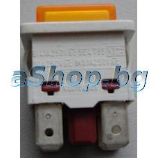 Ключ-бутон за прах.250VAC/7А,On/Off,2-изв.ъгл.надолу, АМП=4.8мм,23x14x15mm