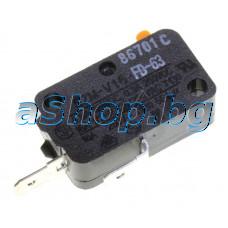 Микроключ,НО,16А/250VAC,AMP=4.68мм,SZM-V16-FD-63