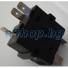 Въртящ ключ 3 поз. 5-изв.за радиатор,16A 250VAC,36x32x30mm,ос 15мм,Midea