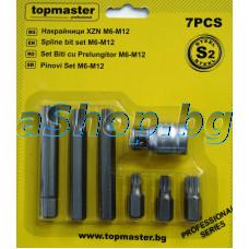 К-т накрайници XZN-6бр.M6,M8,M10x30мм,M8,M10,M12x75mm,1-bit holder 1/2