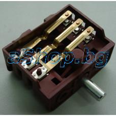 Ключ 4(3+0)-позиц.с 6-изв.250VAC/16A  T150 за ел.готв.печка универсален,KTN,NEO-304