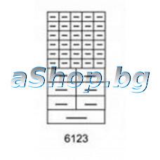 Мет.щкаф за части с 37(30/малки6/средни1/големи)пластм.чекм.,551x306x155мм,син цвят,Mars