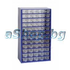 Метален щкаф за части с 60(60-малки) чекмедженца -прозр.пластмаса с преградки,551x306x155мм,син цвят,Mars