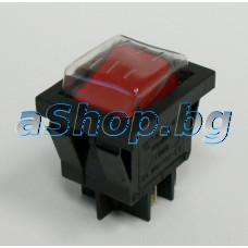 Захранващ ключ 250VAC/16A,двоен 2P-общ,21x26x30мм,4-изв.2-сек.6.3мм,черв.бут.светещ с гум.капаче,MD401/L